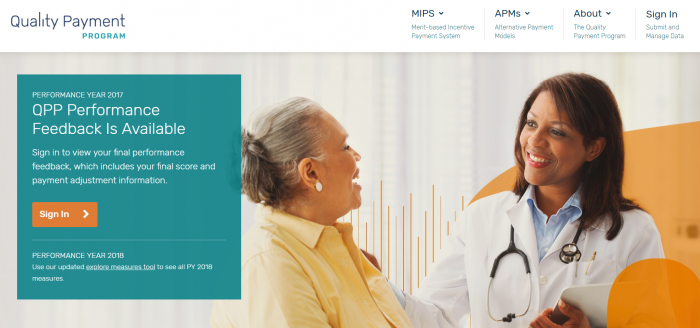 Homepage of the Quality Payment Program