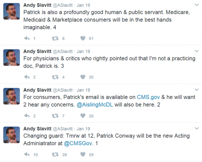 Former CMS Acting Administrator tweets