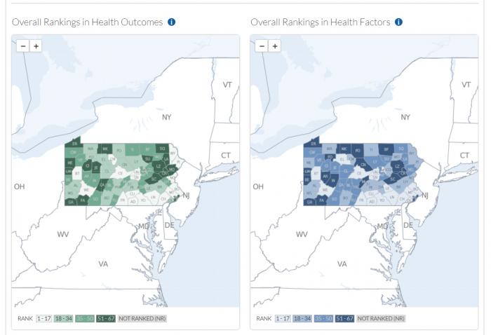 County-by-county breakdown of socioeconomic determinants of health
