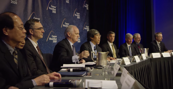 Members of the Cancer Moonshot 2020 leadership board announce the initiative on January 12, 2016
